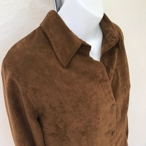 New York & Company Faux Suede long sleeve Top
